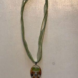 Green ribbon pendant necklace